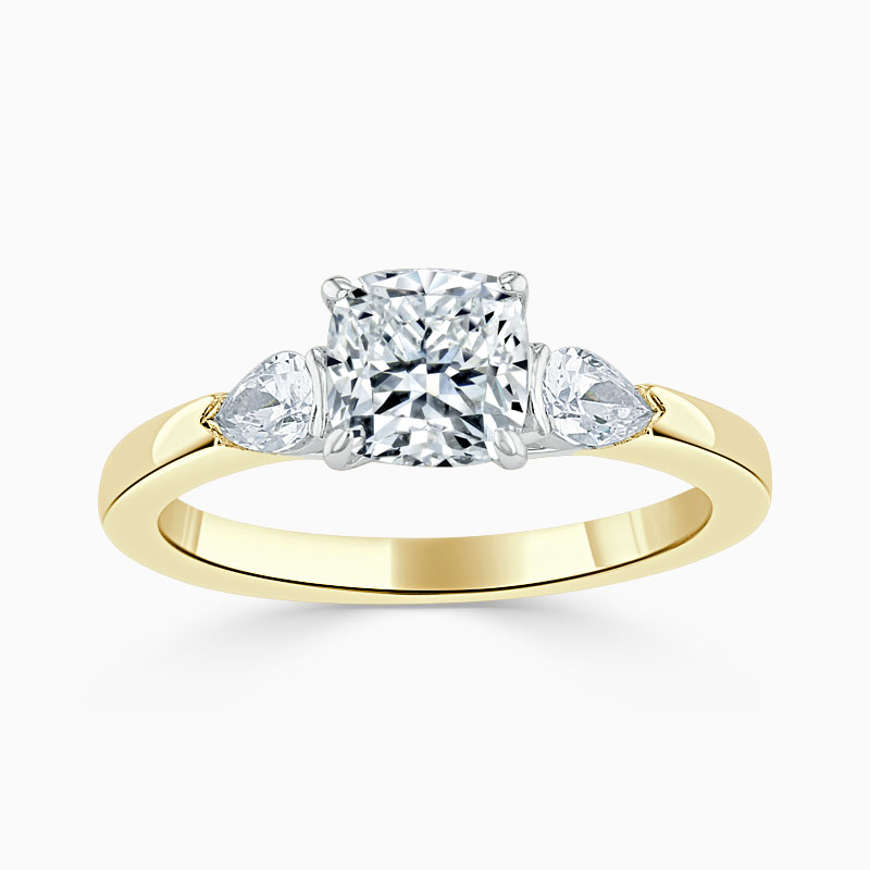 18ct Yellow Gold Cushion Cut 3 Stone with Pears Engagement Ring