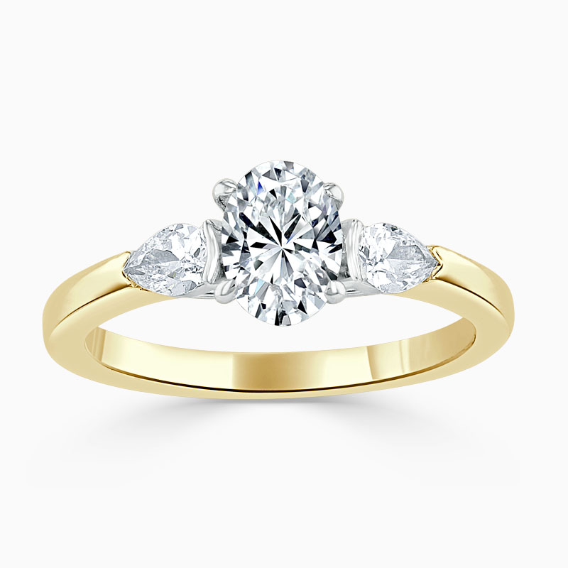 18ct Yellow Gold Oval Shape 3 Stone with Pears Engagement Ring