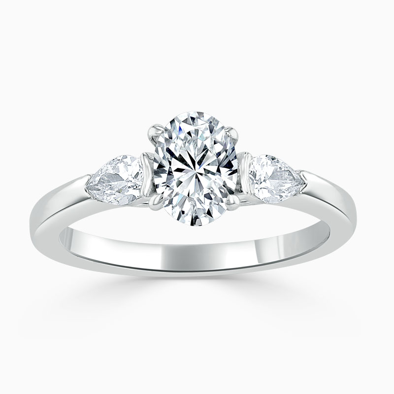 Platinum Oval Shape 3 Stone with Pears Engagement Ring
