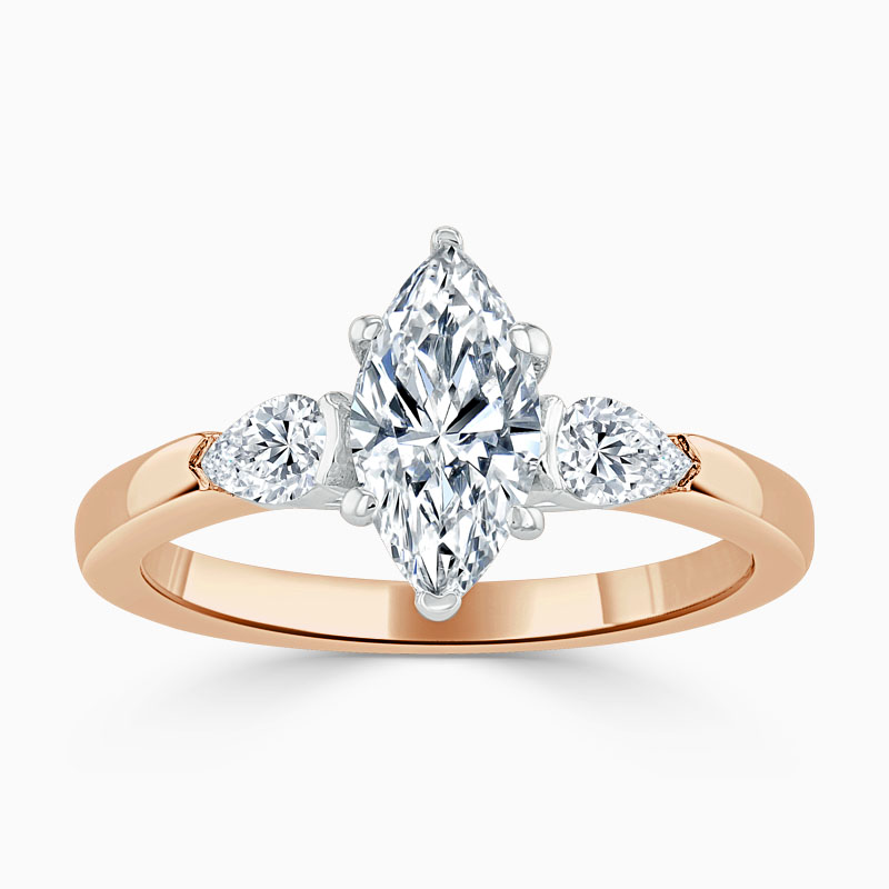 18ct Rose Gold Marquise Cut 3 Stone with Pears Engagement Ring