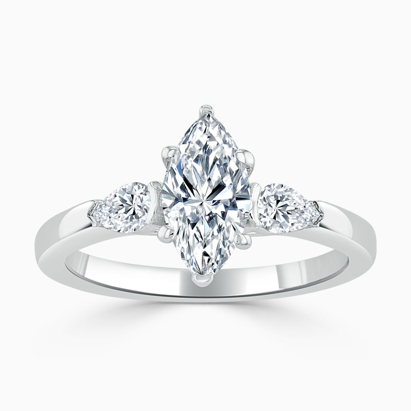 18ct White Gold Marquise Cut 3 Stone with Pears Engagement Ring