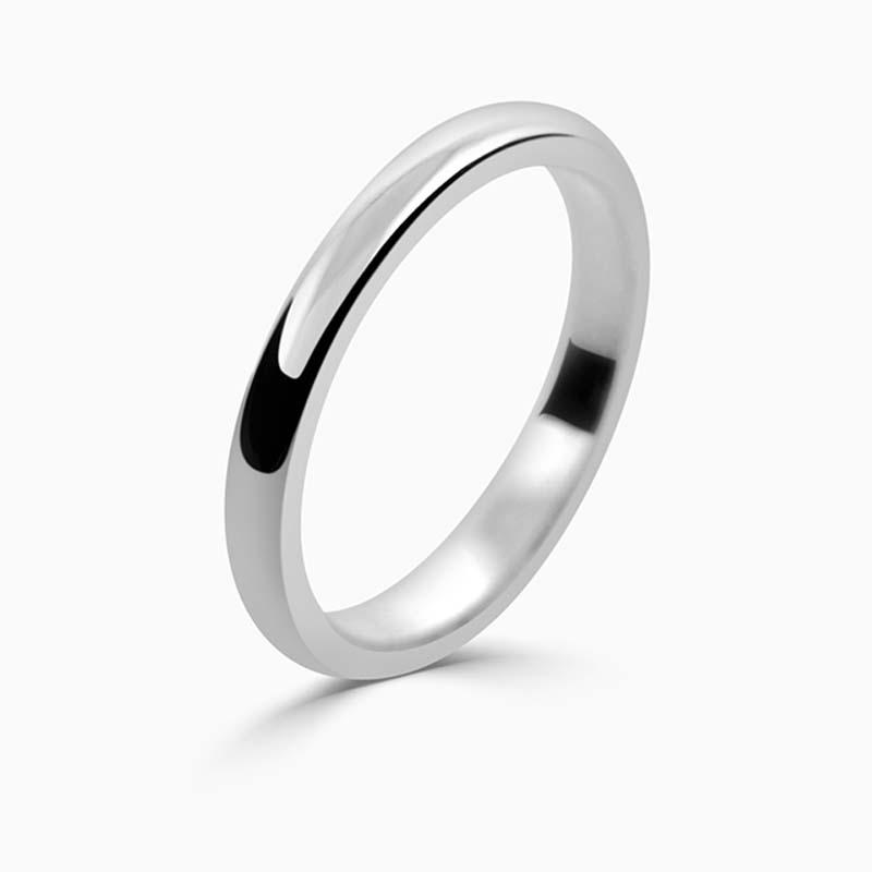 Palladium 2mm D Shape Medium Weight Wedding Ring