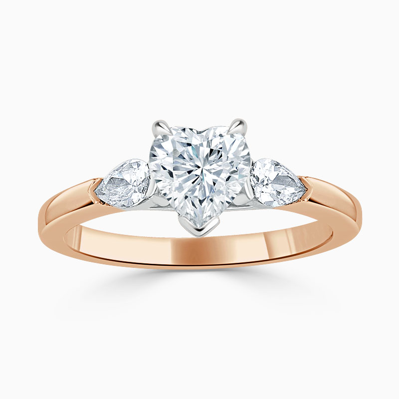 18ct Rose Gold Heart Shape 3 Stone with Pears Engagement Ring