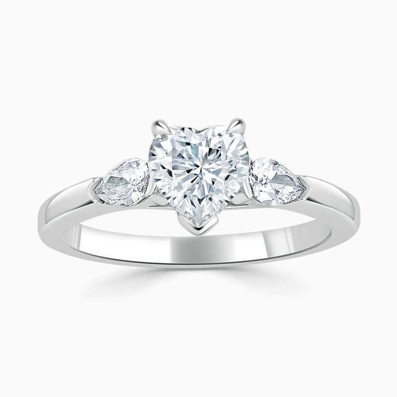 Platinum Heart Shape 3 Stone with Pears Engagement Ring