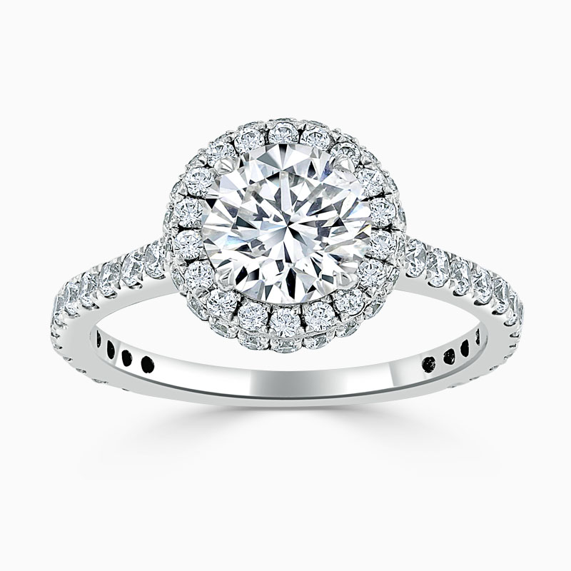 18ct White Gold Round Brilliant Luxe Halo Engagement Ring
