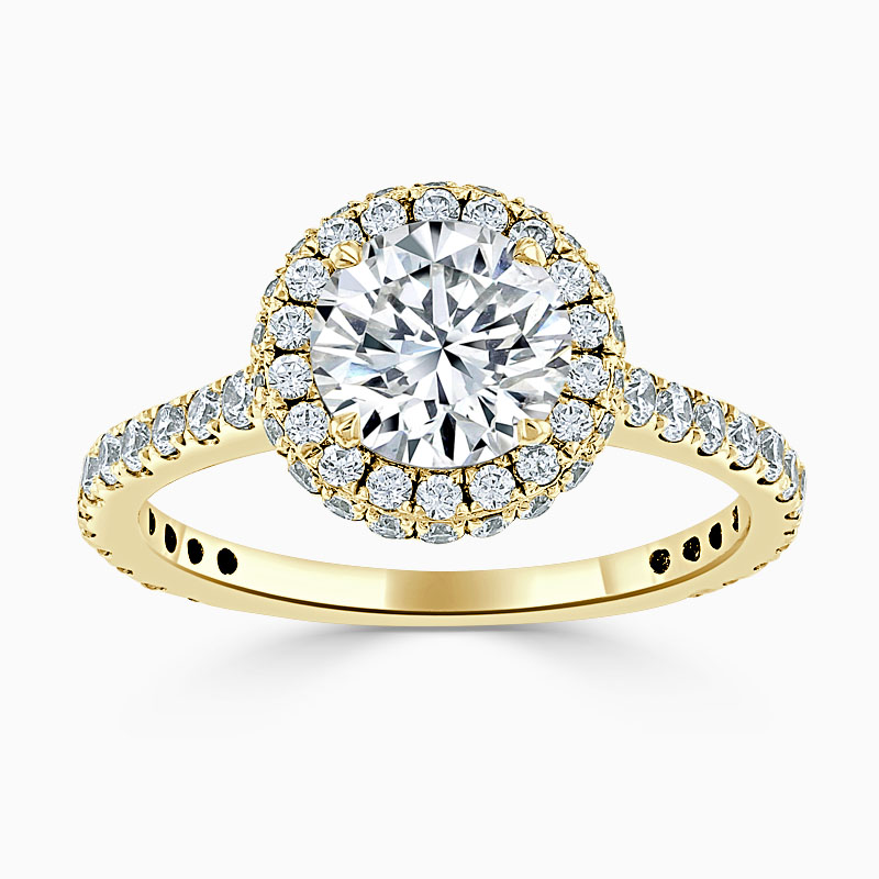 18ct Yellow Gold Round Brilliant Luxe Halo Engagement Ring