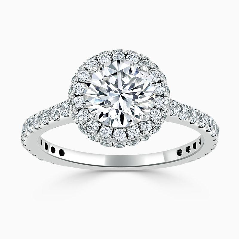 Platinum Round Brilliant Luxe Halo Engagement Ring