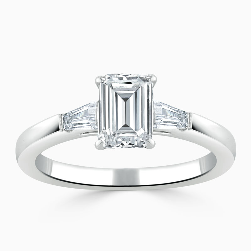 Platinum Emerald Cut 3 Stone with Tapers Engagement Ring