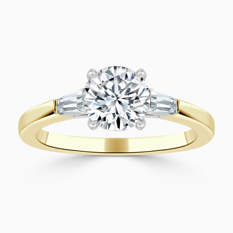 18ct Yellow Gold Round Brilliant 3 Stone with Tapers Engagement Ring