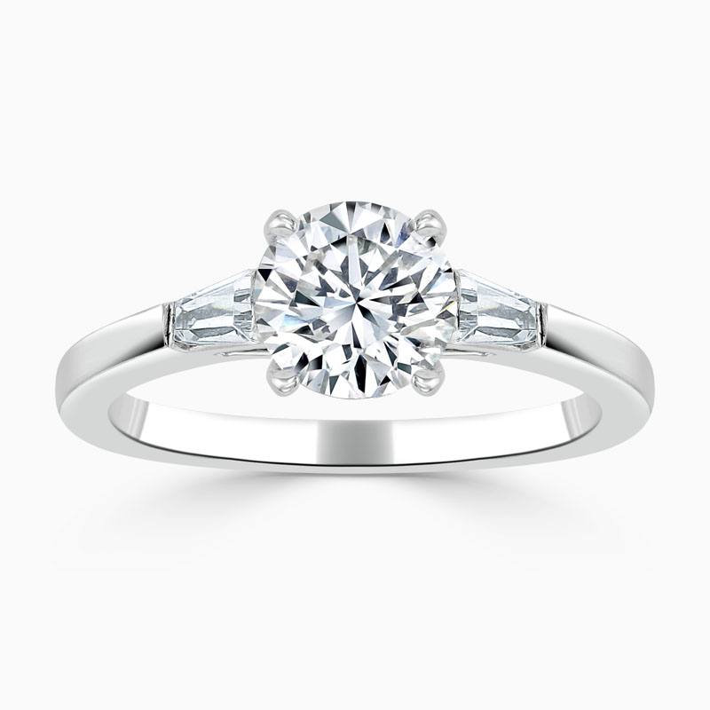 Platinum Round Brilliant 3 Stone with Tapers Engagement Ring