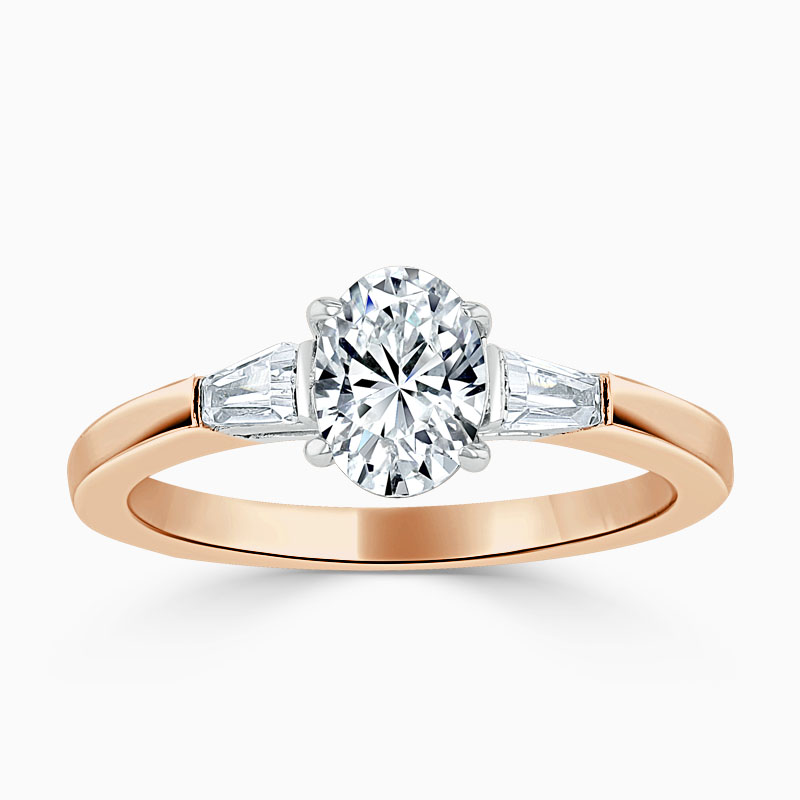 18ct Rose Gold Oval Shape 3 Stone with Tapers Engagement Ring