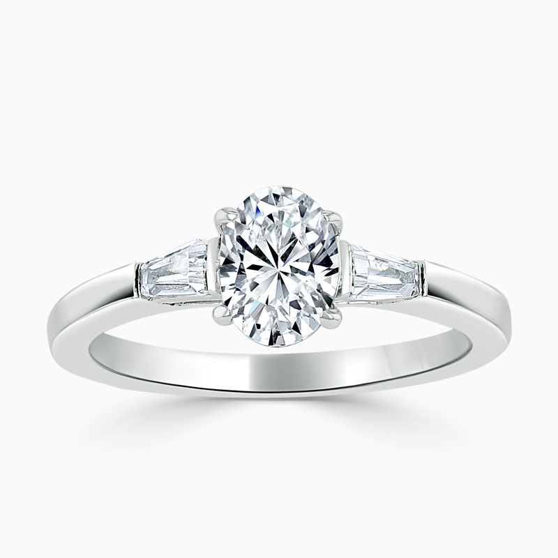18ct White Gold Oval Shape 3 Stone with Tapers Engagement Ring