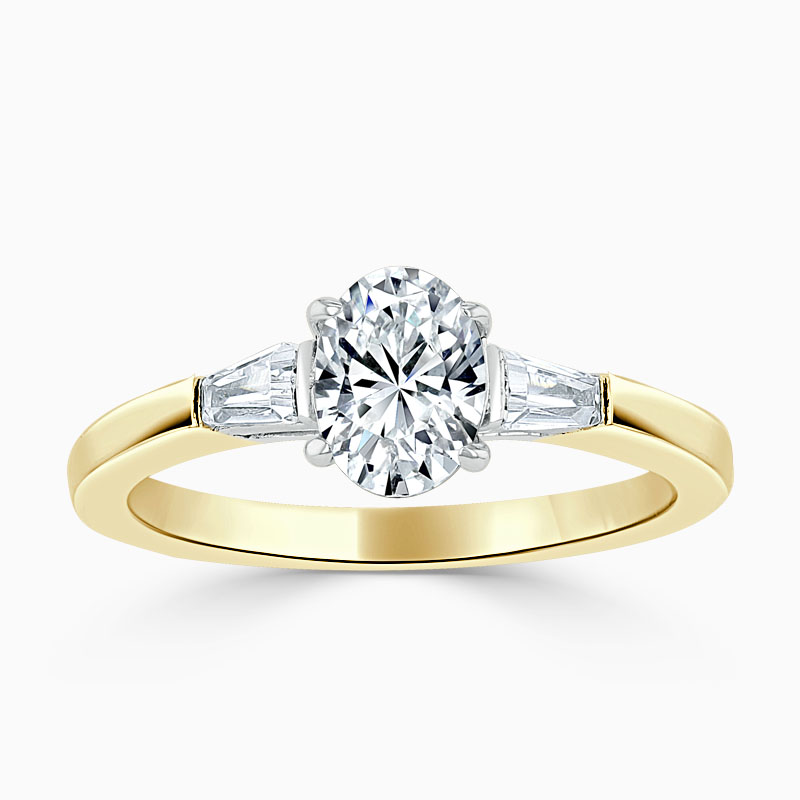 18ct Yellow Gold Oval Shape 3 Stone with Tapers Engagement Ring
