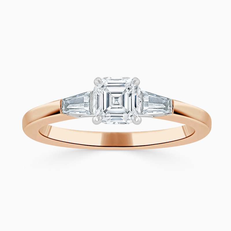 18ct Rose Gold Asscher Cut 3 Stone with Tapers Engagement Ring