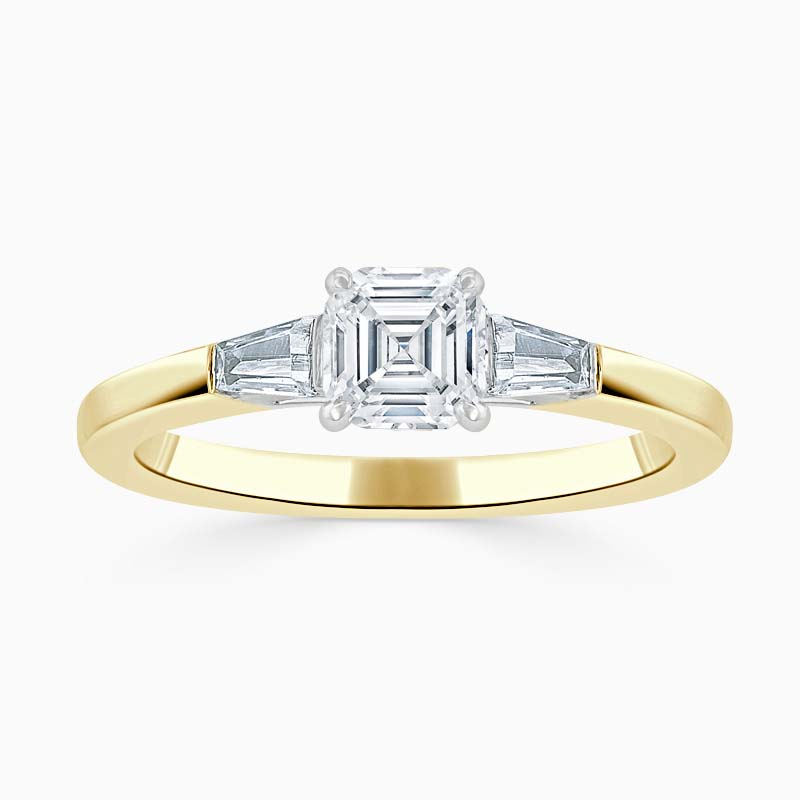 18ct Yellow Gold Asscher Cut 3 Stone with Tapers Engagement Ring
