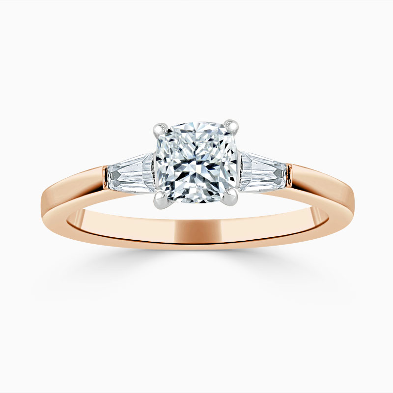 18ct Rose Gold Cushion Cut 3 Stone with Tapers Engagement Ring