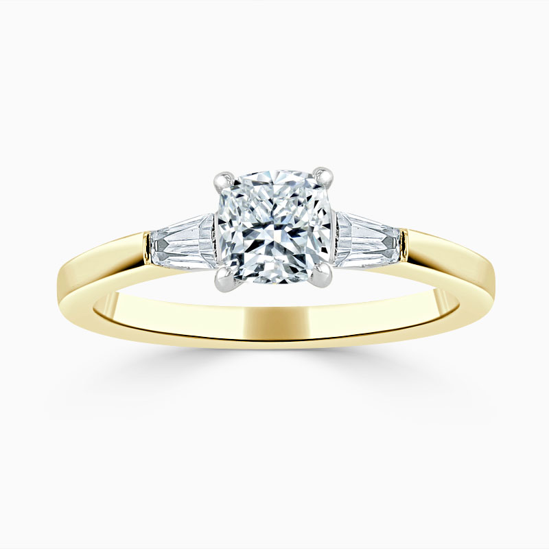 18ct Yellow Gold Cushion Cut 3 Stone with Tapers Engagement Ring