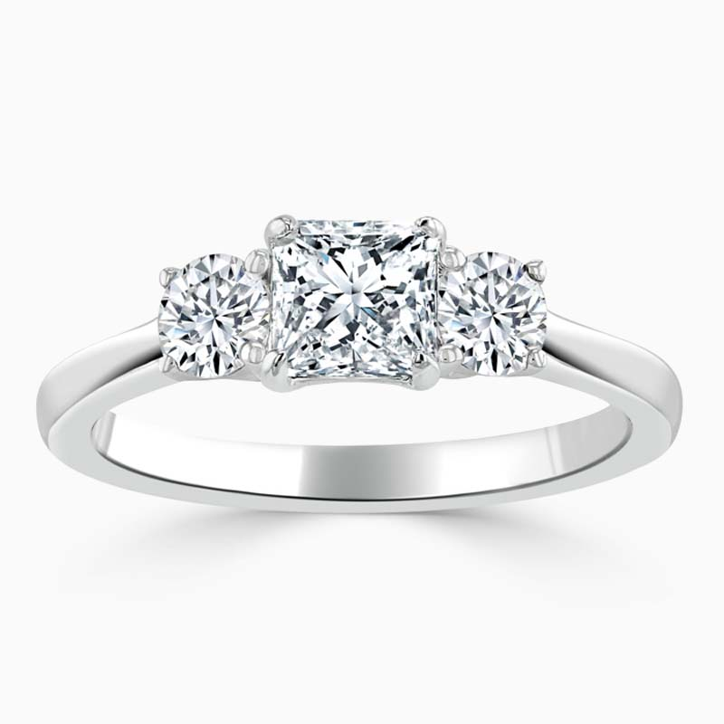 18ct White Gold Princess Cut 3 Stone with Rounds Engagement Ring
