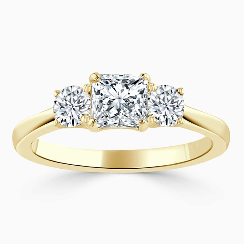 18ct Yellow Gold Princess Cut 3 Stone with Rounds Engagement Ring