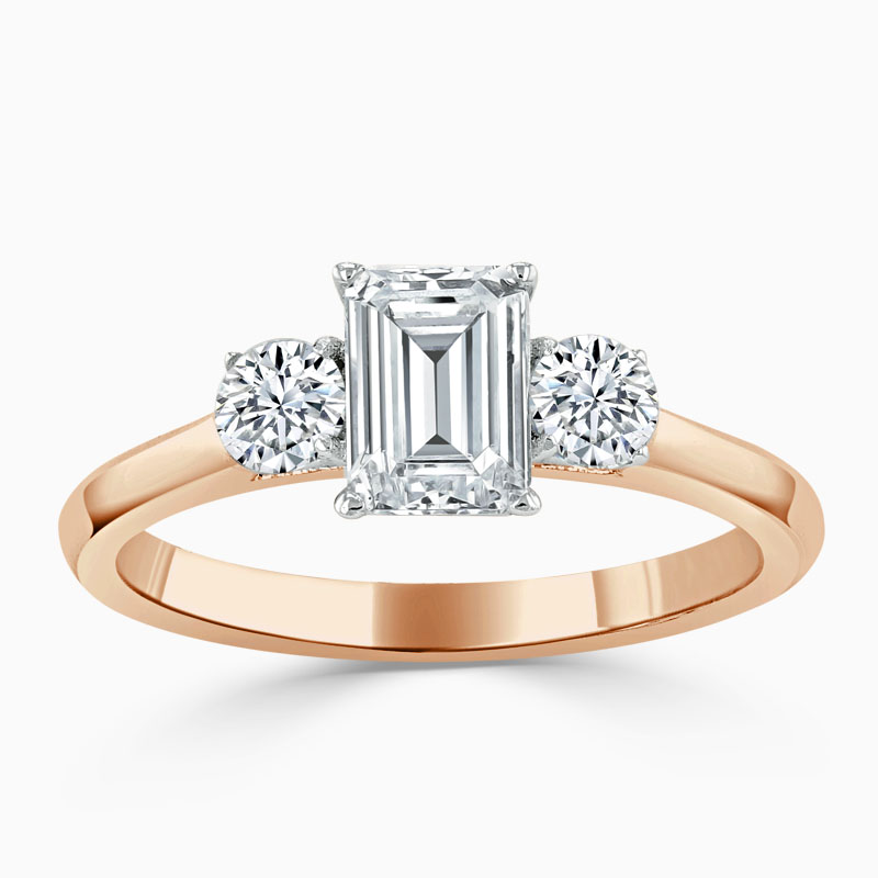 18ct Rose Gold Emerald Cut 3 Stone with Rounds Engagement Ring