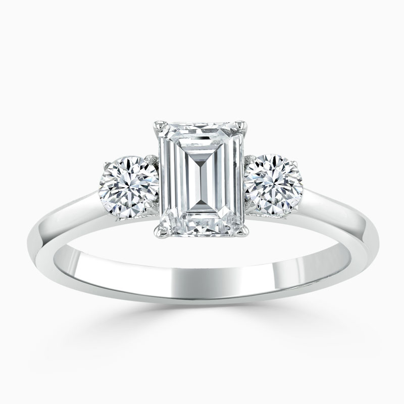 18ct White Gold Emerald Cut 3 Stone with Rounds Engagement Ring