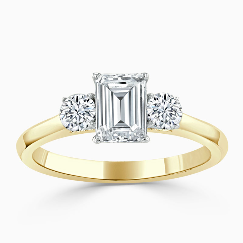 18ct Yellow Gold Emerald Cut 3 Stone with Rounds Engagement Ring