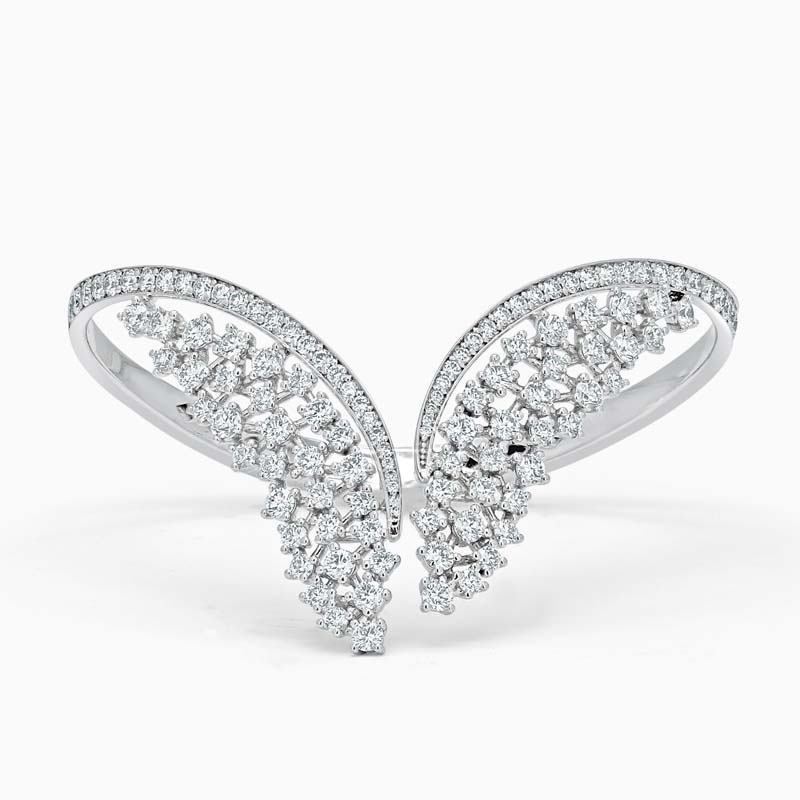 18ct White Gold Wing Shape Diamond Set Bangle