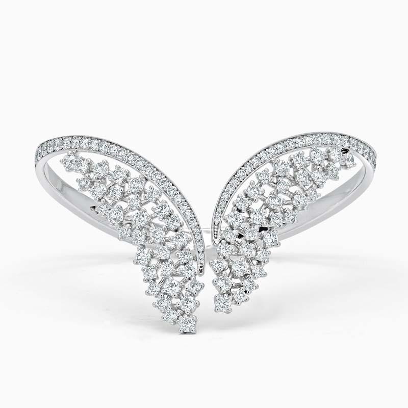18ct White Gold Wing Shape Diamond Set Bangle