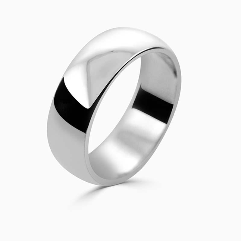 Palladium 7mm D Shape Medium Weight Wedding Ring