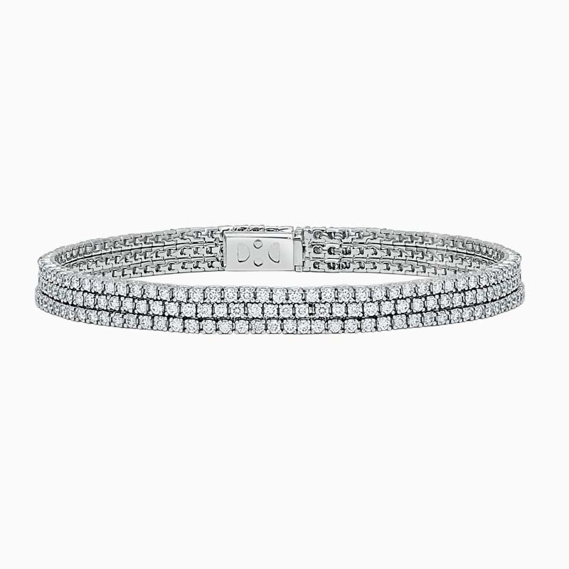 18ct White Gold Triple Row Diamond Line Bracelet