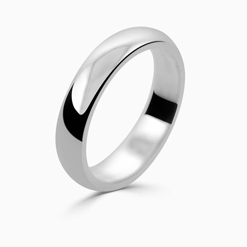 Palladium 4mm D Shape Medium Weight Wedding Ring