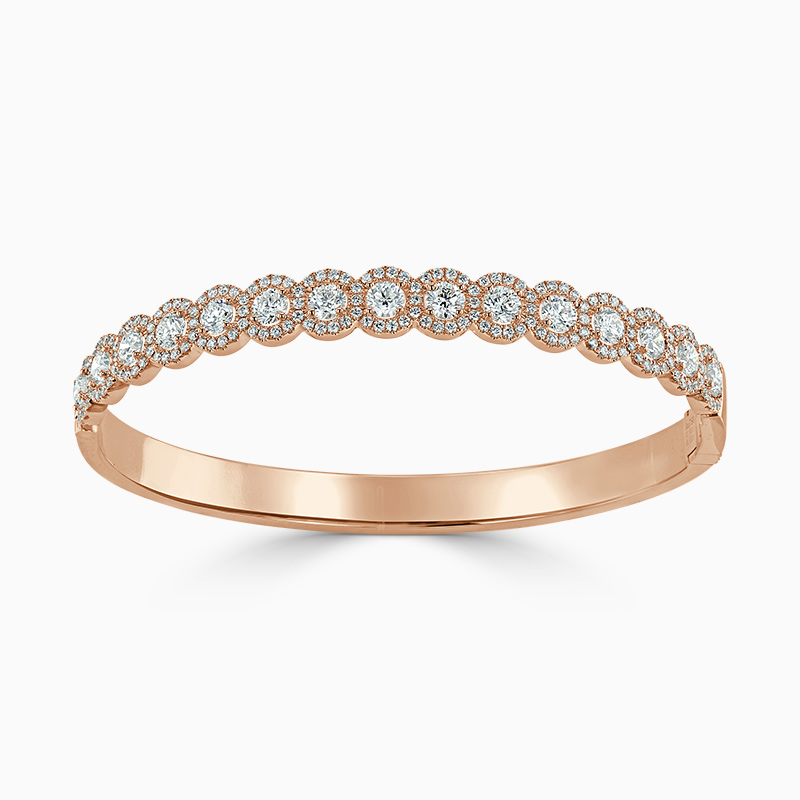 18ct Rose Gold Round Brilliant Diamond Halo Bangle