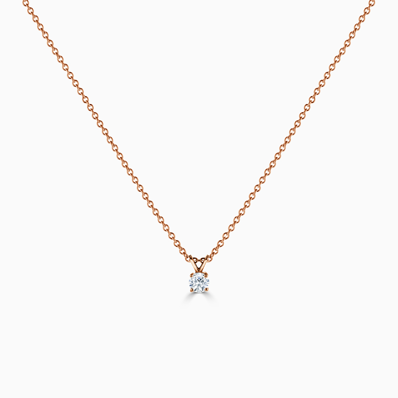 18ct Rose Gold Round Diamond Pendant
