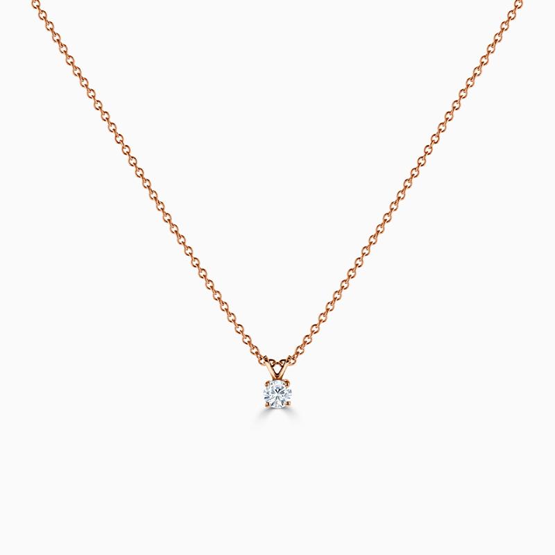 18ct Rose Gold Round Diamond Pendant