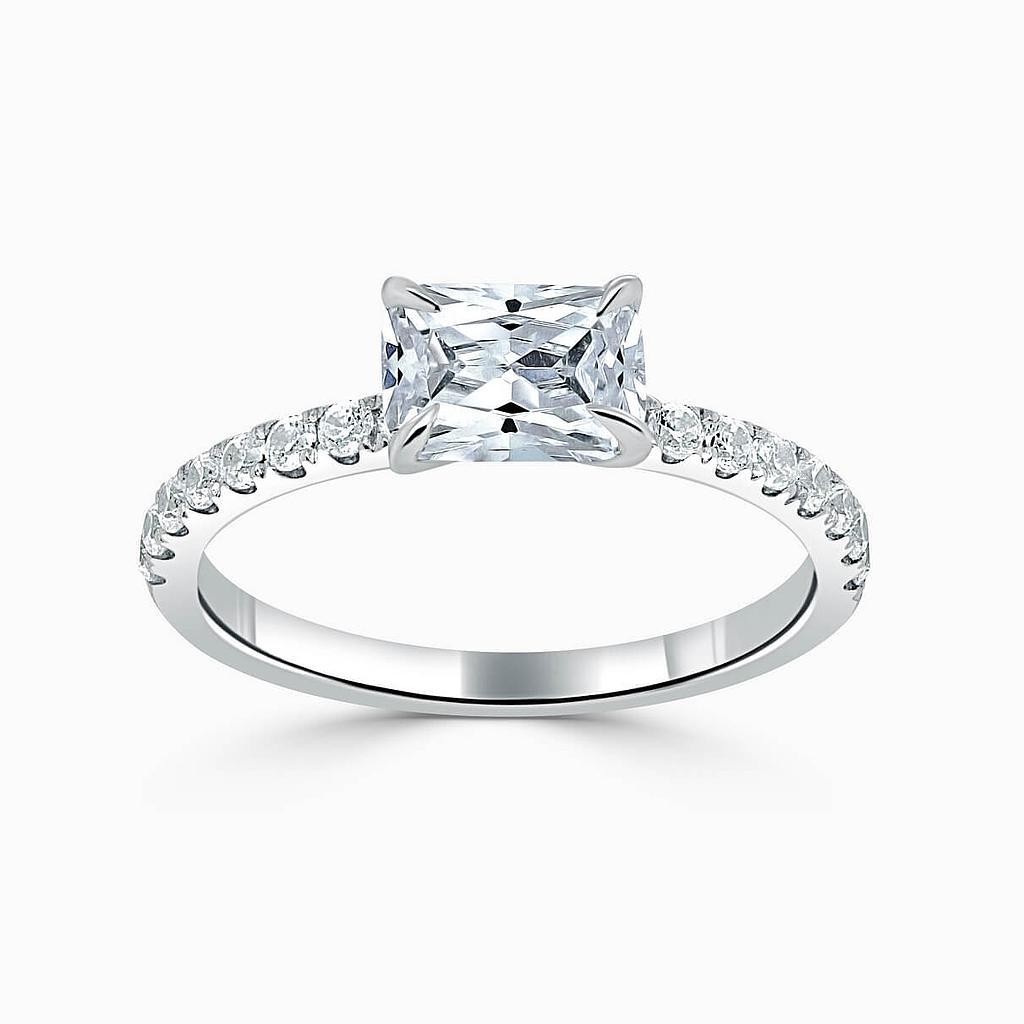 Platinum Radiant Cut Side Cutdown Engagement Ring