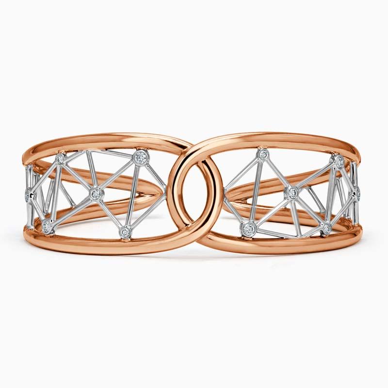 18ct Rose Gold Constellation Link Diamond Bangle
