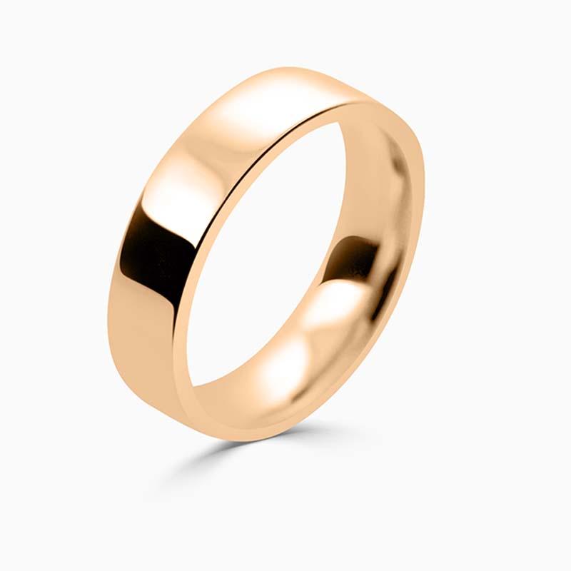 18ct Rose Gold 5mm Flat Court Flat Edge Medium Weight Wedding Ring