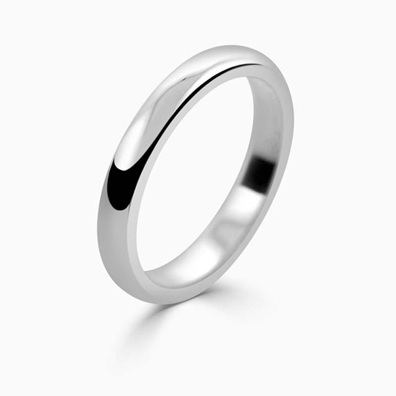 Platinum 2.5mm D Shape Medium Weight Wedding Ring