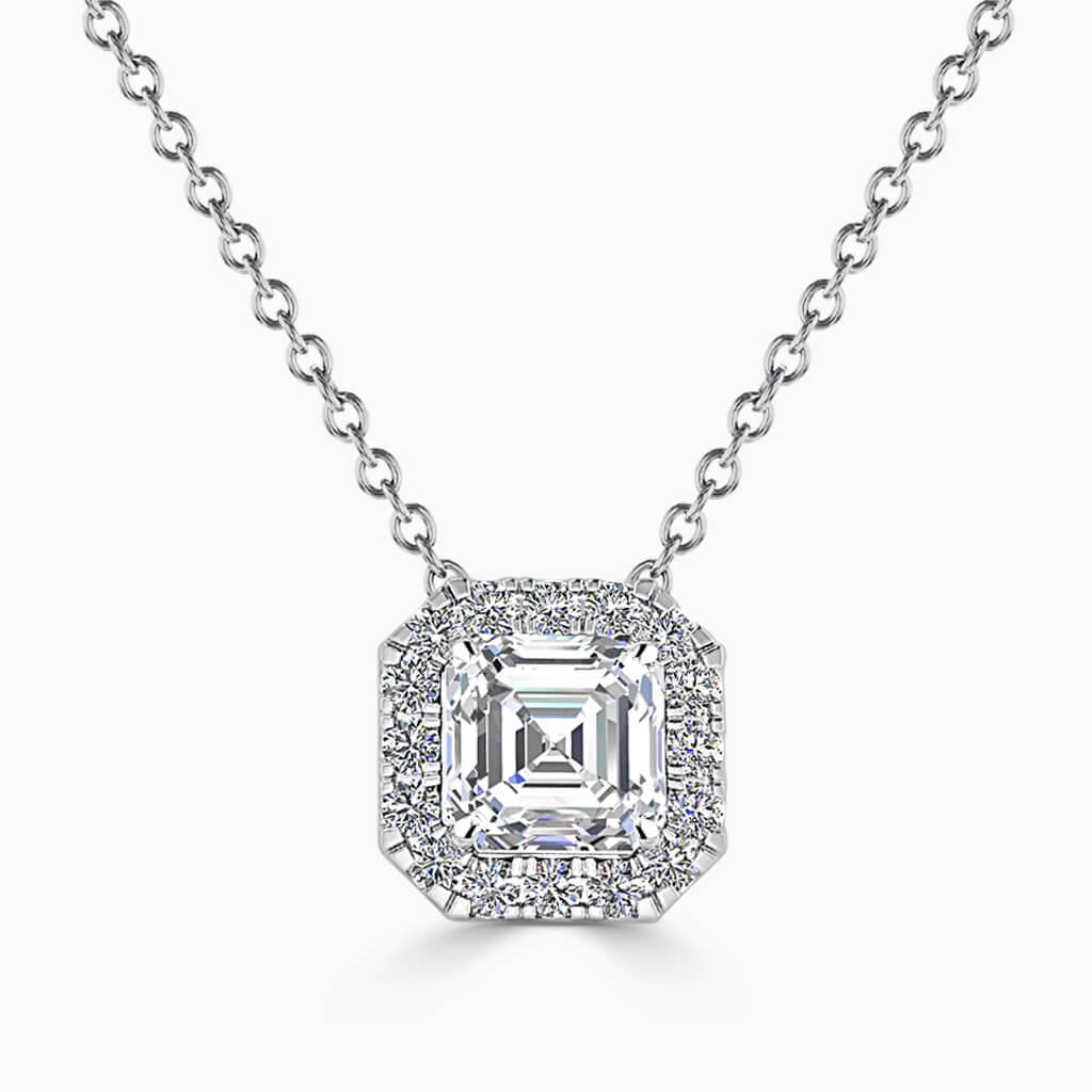 18ct White Gold Asscher Cut Halo Diamond Pendant