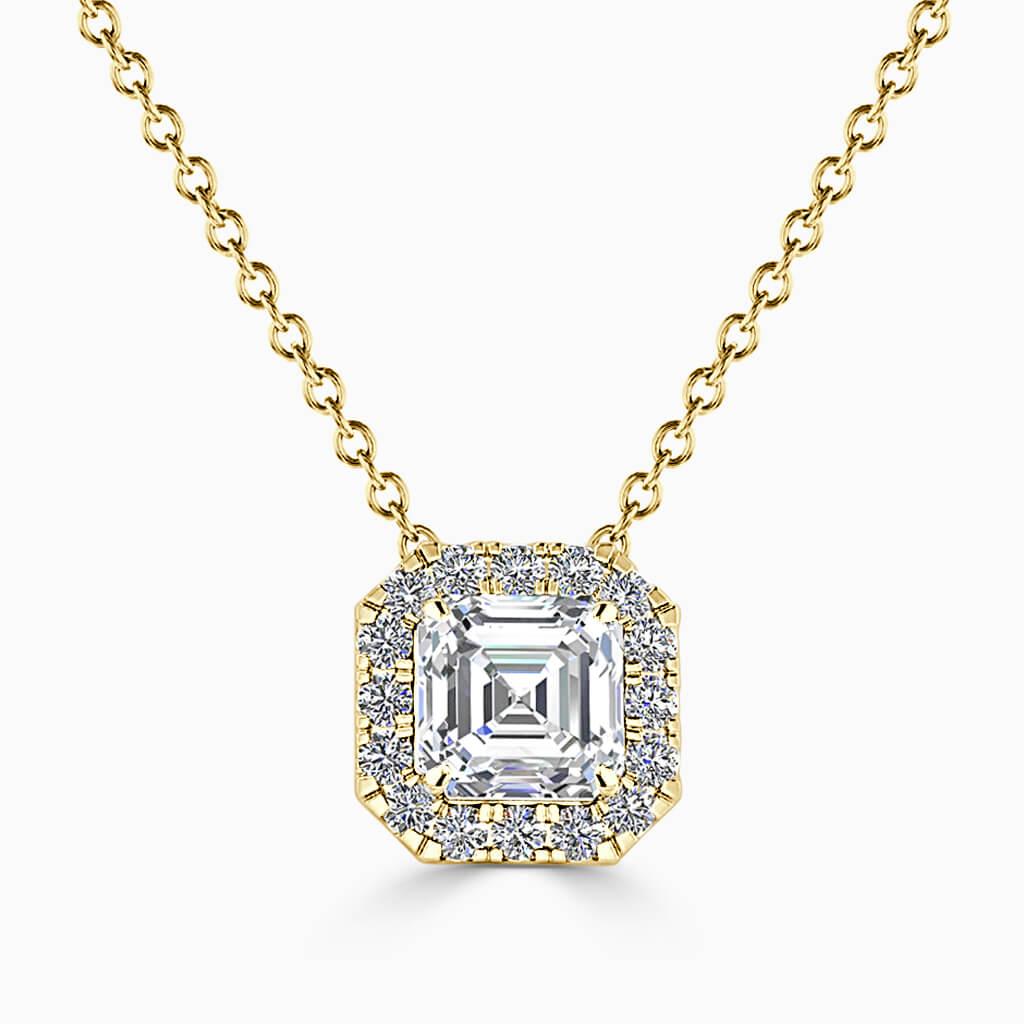 18ct Yellow Gold Asscher Cut Halo Diamond Pendant