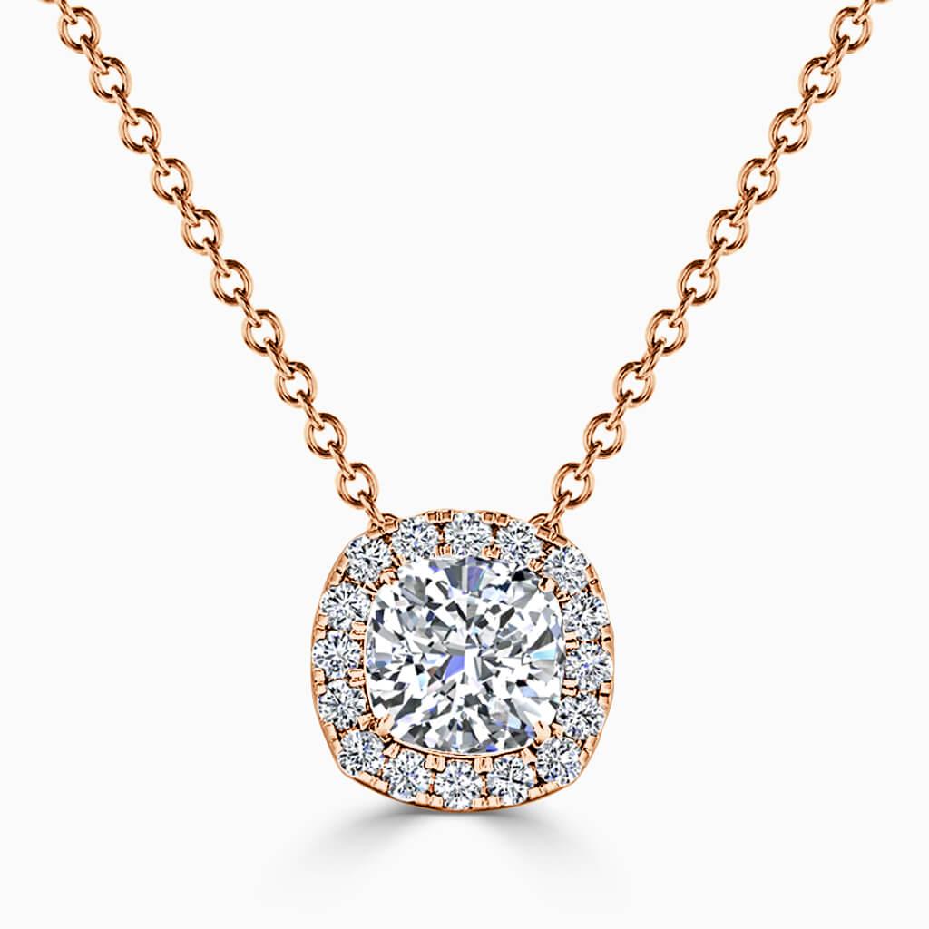 18ct Rose Gold Cushion Cut Halo Diamond Pendant