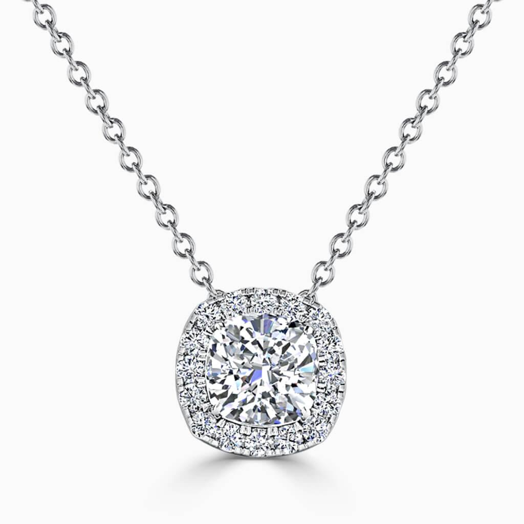 18ct White Gold Cushion Cut Halo Diamond Pendant
