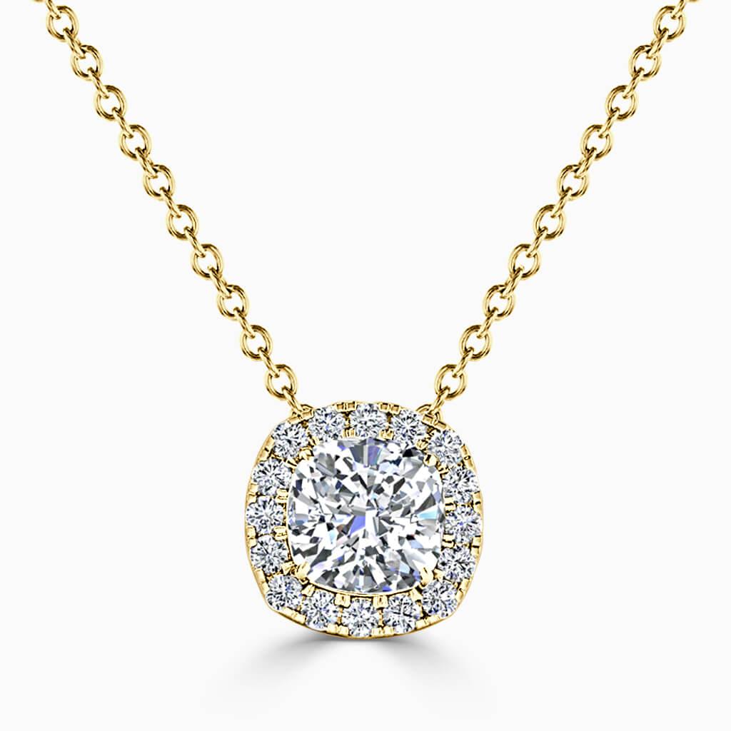 18ct Yellow Gold Cushion Cut Halo Diamond Pendant