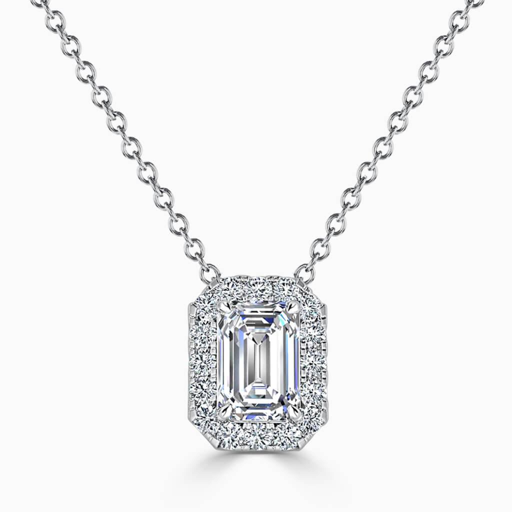 18ct White Gold Emerald Cut Halo Diamond Pendant