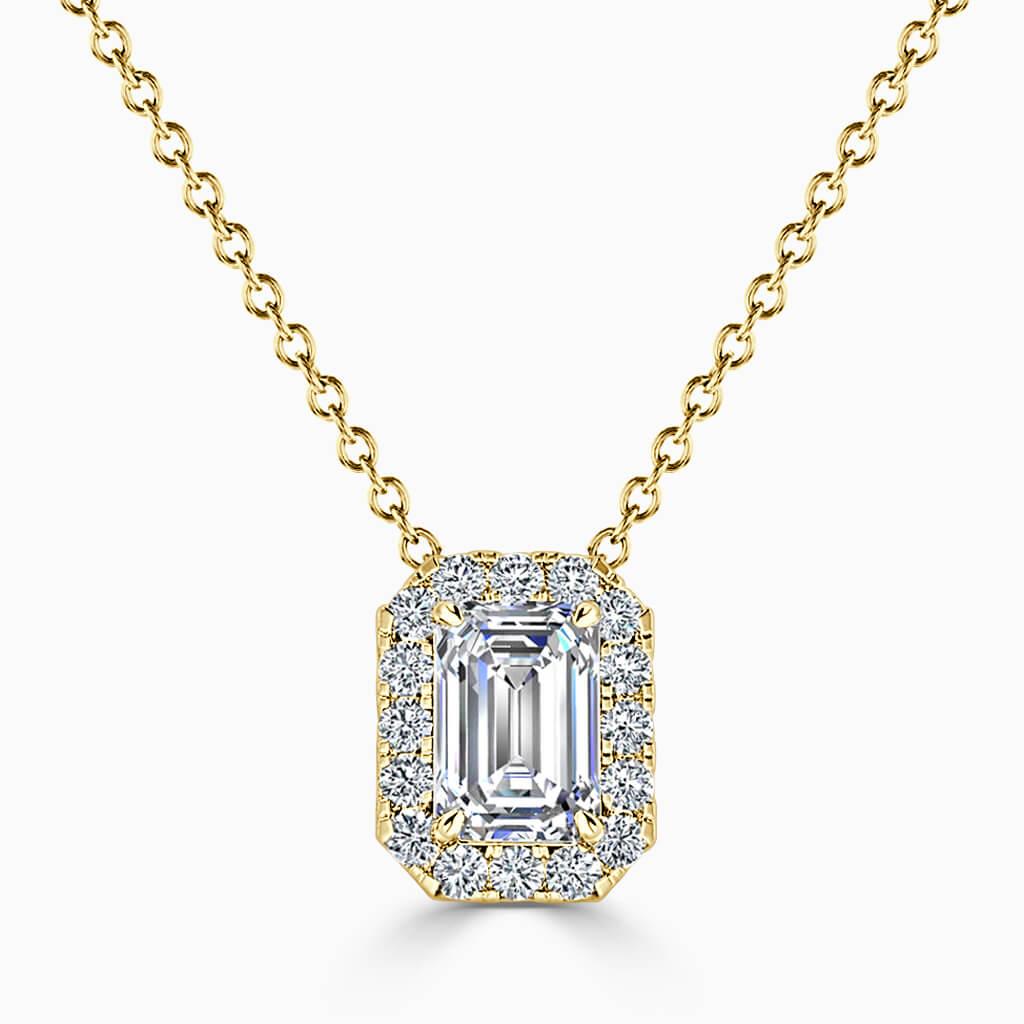 18ct Yellow Gold Emerald Cut Halo Diamond Pendant