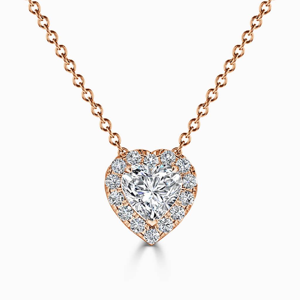 18ct Rose Gold Heart Shape Halo Diamond Pendant