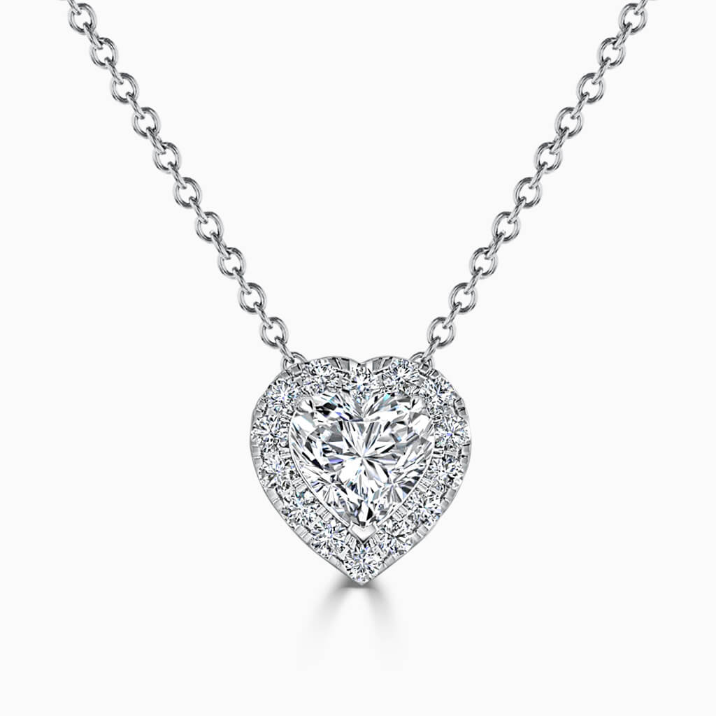 18ct White Gold Heart Shape Halo Diamond Pendant