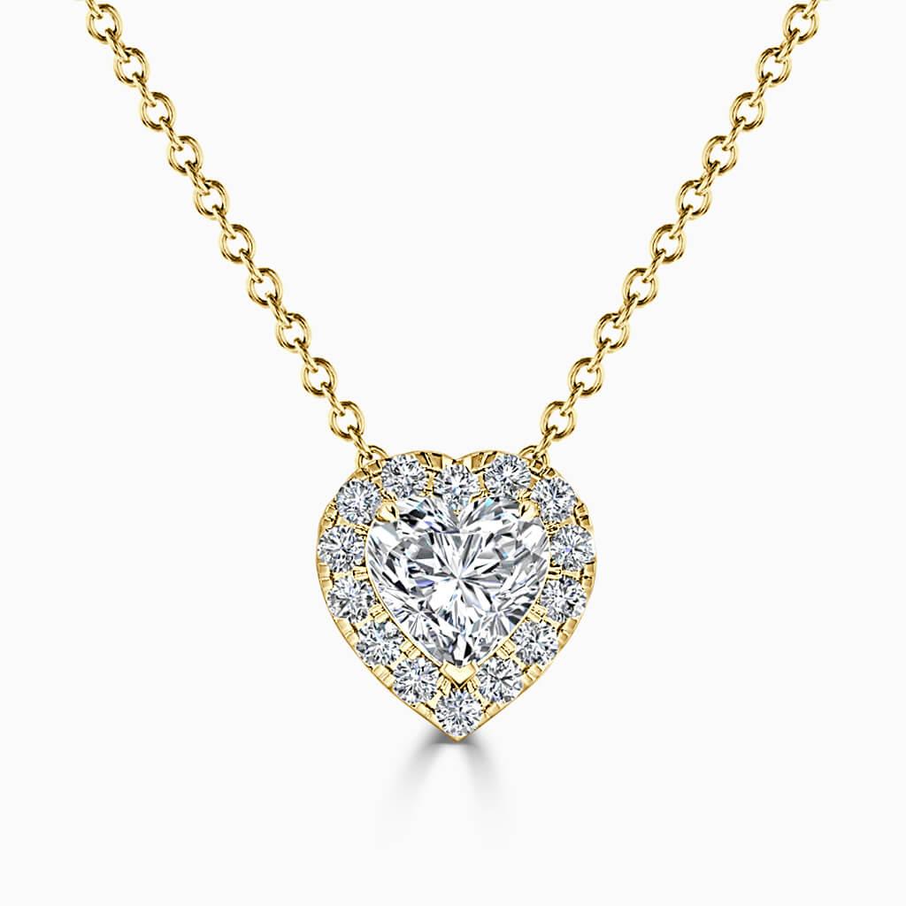 18ct Yellow Gold Heart Shape Halo Diamond Pendant