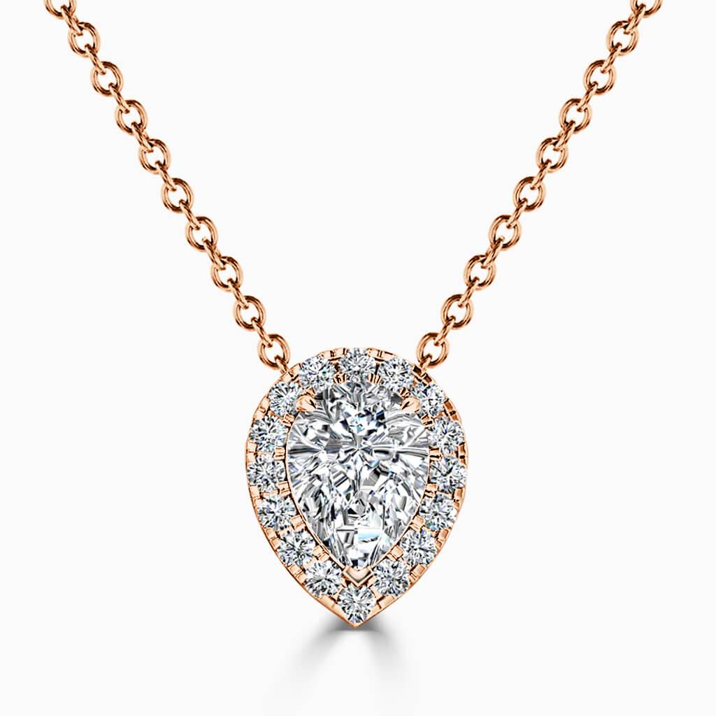 18ct Rose Gold Pear Shape Halo Diamond Pendant