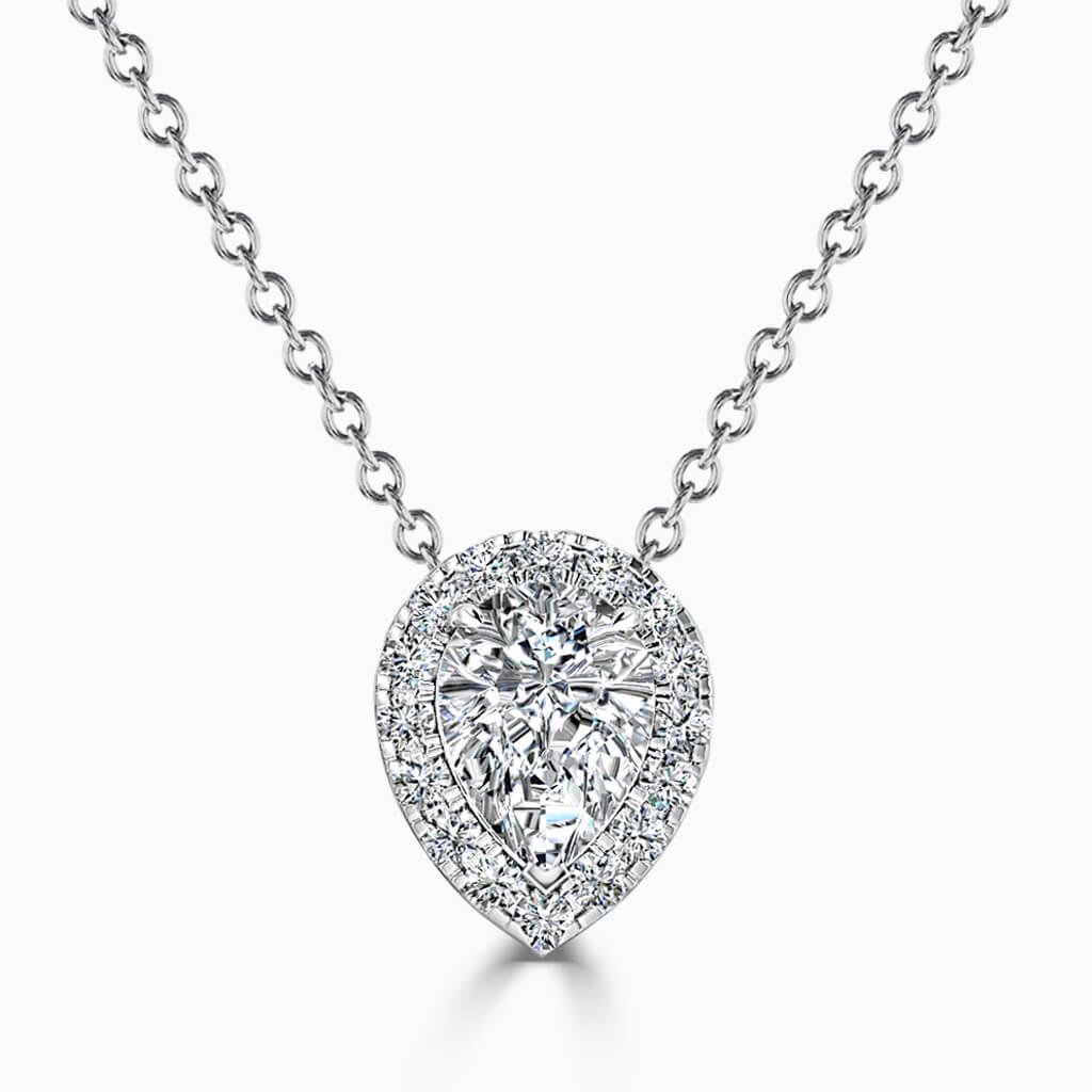 18ct White Gold Pear Shape Halo Diamond Pendant